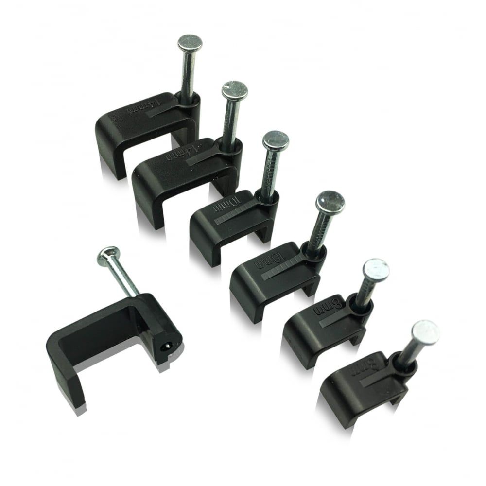 Flat Black Cable Clips With Fixing Nails Diy Amp Fixings