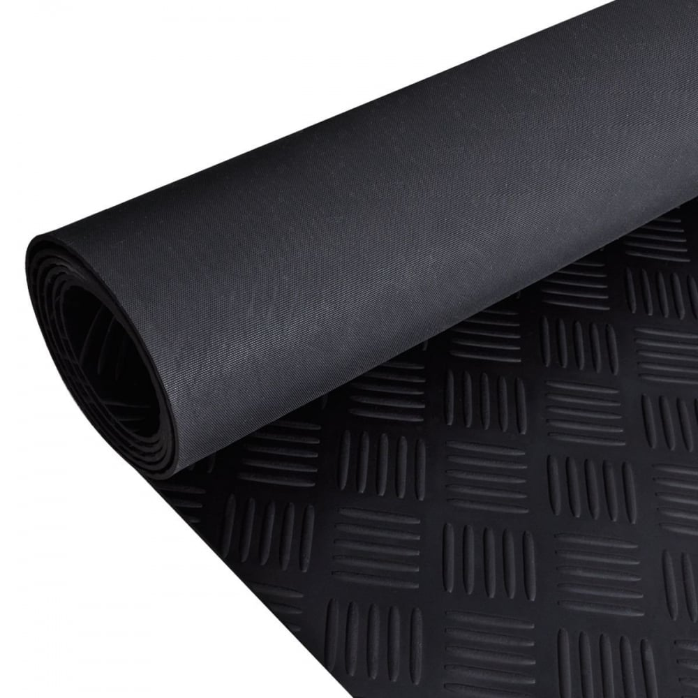 Checker Plate Black Anti Slip Shed Van Garage Work Rubber Flooring Matting Roll 1 2m