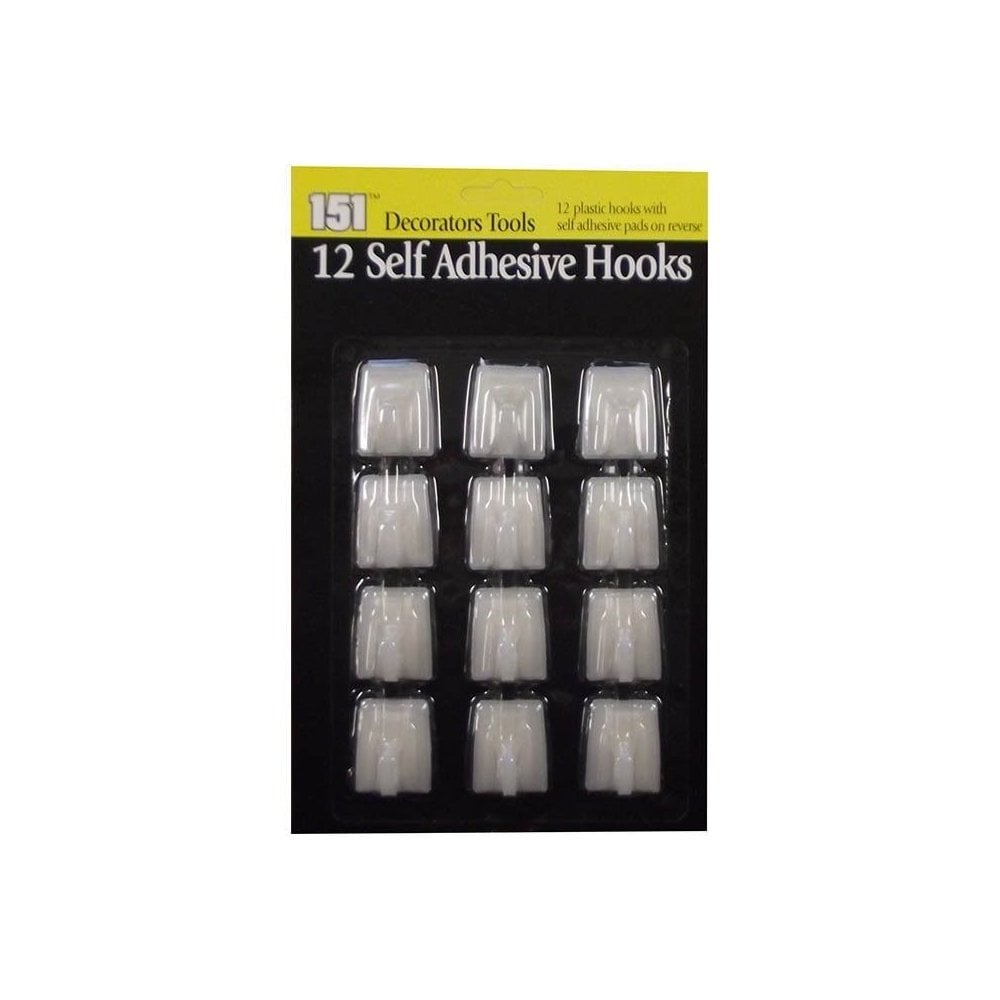 Pack Of 12 Self Adhesive Milky White Stick On Plastic Household Hooks
